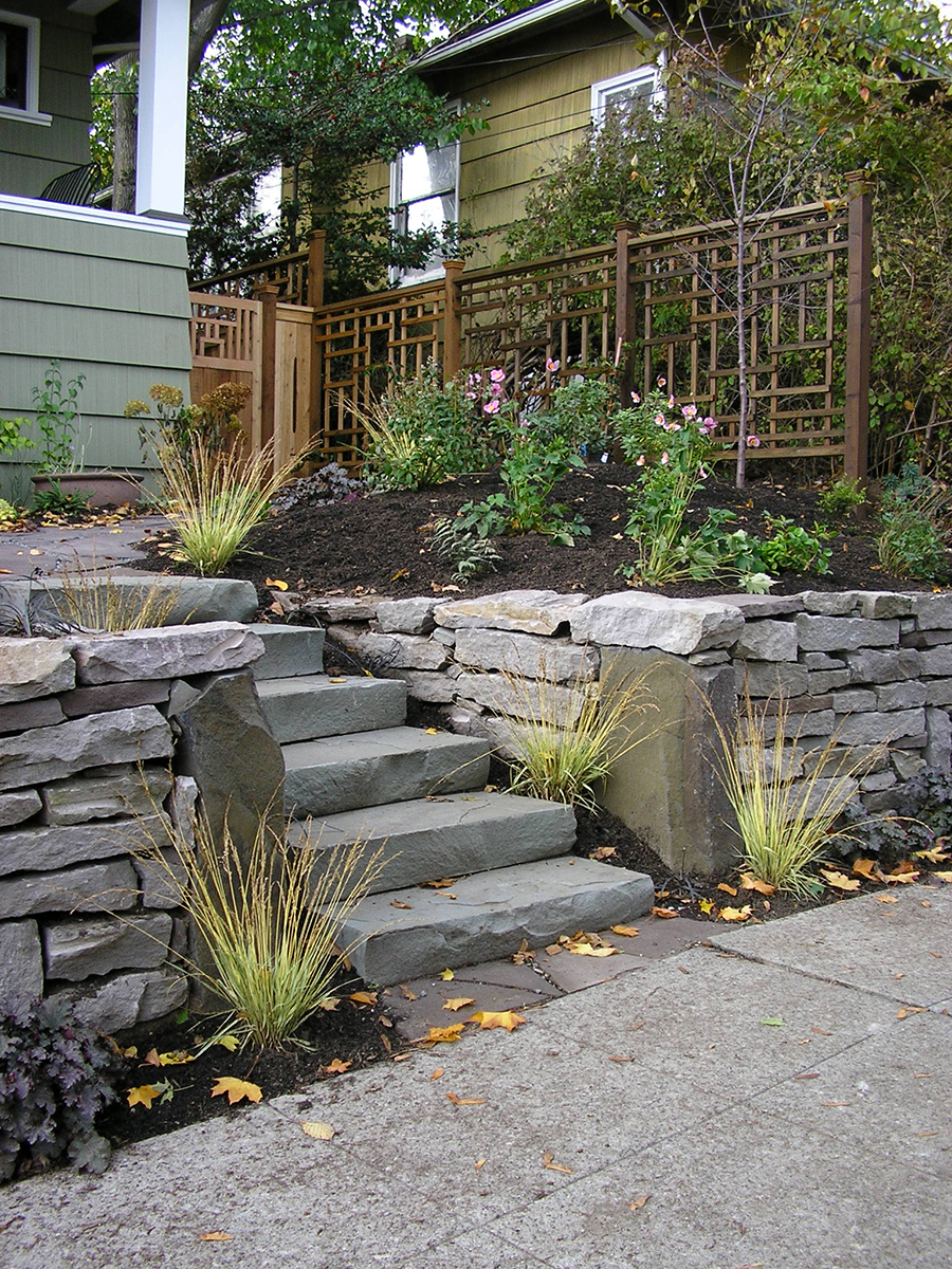 Front Garden Fence, Stone Wall & Steps